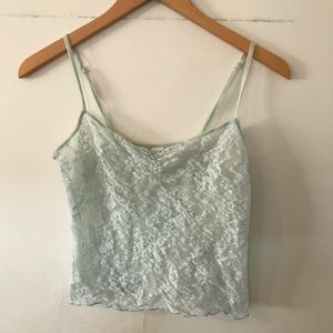 DKMY baby blue lace cropped lingerie top